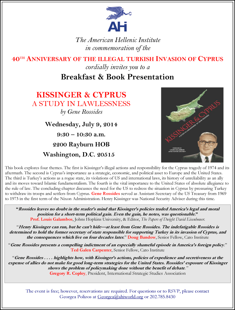Kissinger & Cyprus Book Presentation